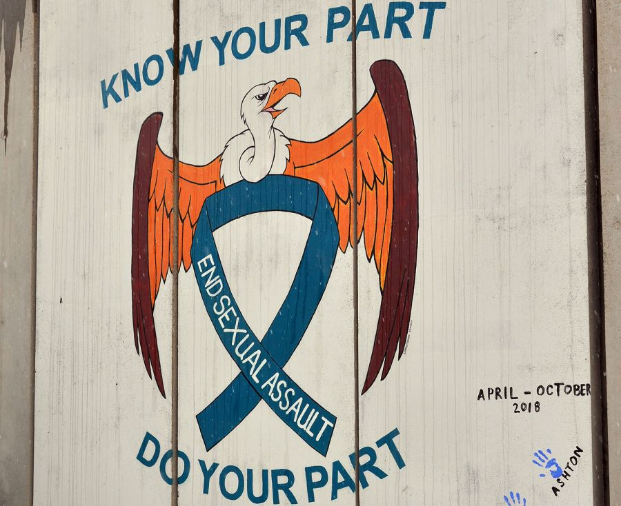 A Sexual Assault Prevention and Response mural at Bagram Air Field, Afghanistan.